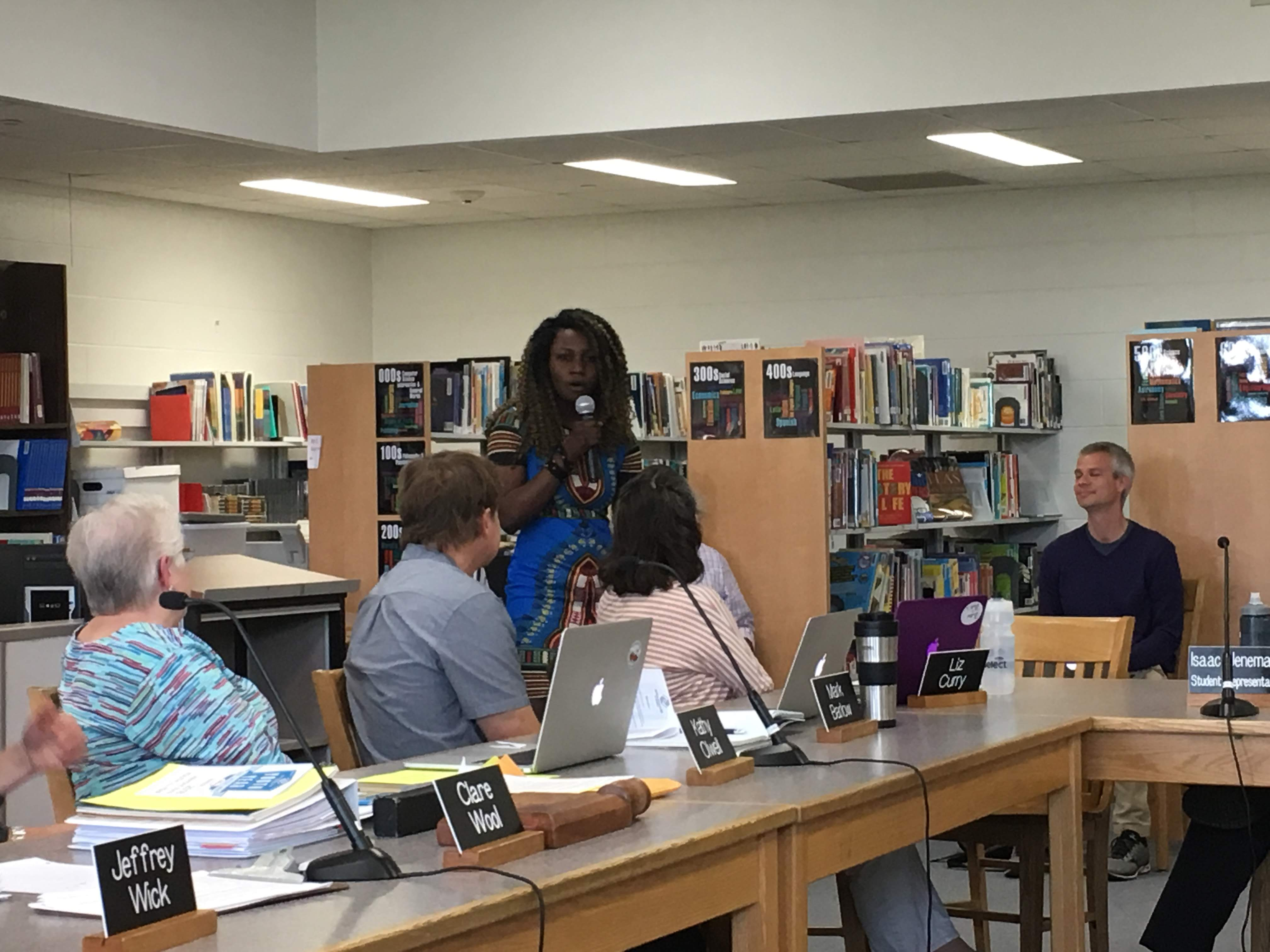 Senga giving her speech to the school board